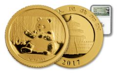 2017 China 1-Gram Gold Panda NGC MS70