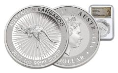 2017 Australia 1 Dollar 1-oz Silver Kangaroo NGC MS70 First Releases