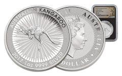 2017 Australia 1 Dollar 1-oz Silver Kangaroo NGC MS70 First Releases - Black