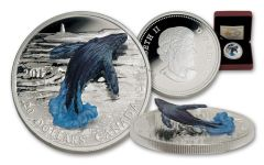 2017 Canada 20 Dollar 1-oz Silver Breaching Whale 3D Proof