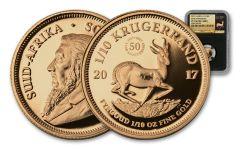 2017 South Africa 1/10-oz Gold Krugerrand NGC PF70UCAM - Black