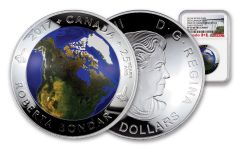 2017 Canada 1 Ounce $25 Silver View From Space NGC PF70UC Early Releases