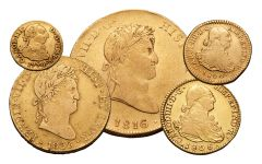 1742-1833 Spain Gold Escudo VF 5-Piece Set