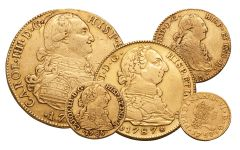 1742-1799 Spain Gold Escudo VF 5-Pc Set