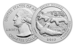 2017-P 25 Cent 5-oz Silver America the Beautiful Effigy Mounds Specimen