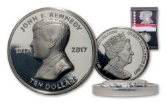 2017 British Virgin Islands $10 2-oz Silver JFK Centenary Ultra High Relief Proof + Purple Swarovski Crystal