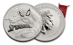 2017 Tuvalu 1 Dollar 1-oz Silver Spiderman Brilliant Uncirculated
