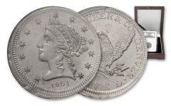 1861 5 Dollar Clark Gruber K-10 Pattern White Metal NGC MS63