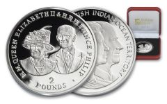 2017 Great Britain 2 Pound Silver Queen Elizabeth II and Prince Philip 80th Birthday Proof