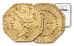 1854 25 Cent Gold BG-105 California Fractional Octagonal Liberty NGC MS66
