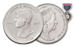 2017 British Virgin Islands 1 Dollar Cupro John F. Kennedy Centenary BU
