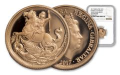 2017 Gibraltar 1/4-oz Gold Sovereign NGC Gem Proof
