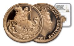 2017 Gibraltar 1/4-oz Gold Sovereign NGC PF69UC