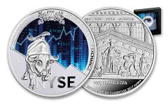 2017 Republic of Cameroon 1-oz Silver New York Exchange- 200th Anniversary Proof