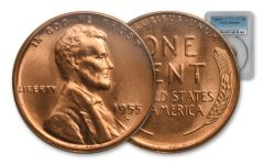 1955-S 1 Cent Lincoln Wheat NGC MS66 Red