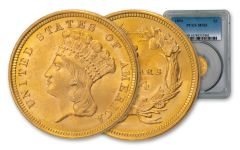 1854-P $3 Gold Indian Princess PCGS MS65