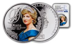 2017 Tokelau 1 Dollar 20-gram Silver Diana Princess of Wales NGC PF70- First Release