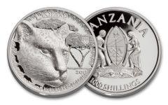 2017 Tanzania 1-oz Silver Serengeti Big 5 Leopard HR Proof