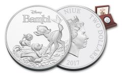 2017 Niue 2 Dollar 1-oz Silver Bambi 75th Anniversary Proof