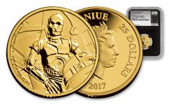 2017 Niue 25 Dollar 1/4-oz Gold Star Wars Classic C3PO NGC PF69UCAM First Struck - Black