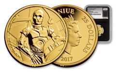 2017 Niue $25 1/4-oz Gold Star Wars C-3PO NGC Gem Proof First Strike - Black Core
