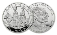 2017 Great Britain 5 Pound Silver 70th Wedding Anniversary Piedfort Proof OGP