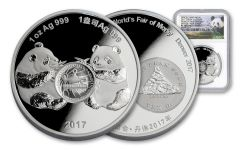 2017 China 1-oz Silver Panda Anniversary Show Release NGC PF70UCAM