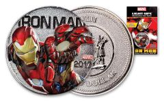 2017 Fiji 50 Cent Silver Plated Clad Iron Man Light Up Specimen - Marvel Series