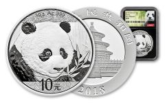 2018 China 30 Gram Silver Panda NGC Gem First Release - Black
