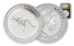 2018 Australia 1 Dollar 1-oz Silver Kangaroo Bullion NGC MS69 First Releases - Black
