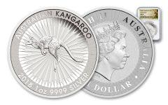2018 Australia 1 Dollar 1-oz Silver Kangaroo Bullion NGC MS69 - White