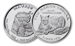2015 New Mexico 1 Dollar 1-oz Silver Navajo Cougar Proof