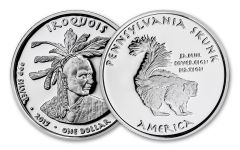 2015 Pennsylvania 1 Dollar 1-oz Silver Skunk Iroquois Proof