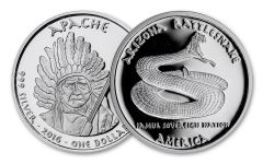2016 Arizona 1 Dollar 1-oz Silver Rattlesnake Apache Proof