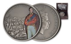 2017 Niue 1 Ounce $2 Silver Battle of Waterloo Antiqued Coin