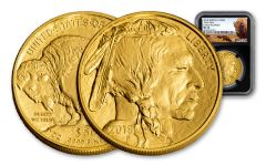 2018 50 Dollar 1-oz Gold Buffalo NGC MS70 Early Releases Buffalo Label - Black
