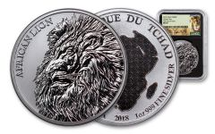 2018 Chad 5000 Franc 1-oz Silver African Lion NGC MS69 First Day Of Issue - Black