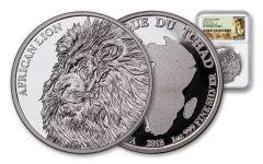 2018 Chad 5000 Franc 1-oz Silver African Lion NGC PF70UCAM FDI Lion Label
