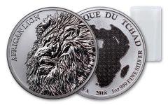 2018 Chad 5000 Franc 1-oz Silver African Lion BU Roll