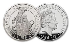 2018 Great Britain 10 Pound 10-oz Silver Queens Beast Black Bull Proof