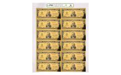 SMITHSONIAN 1934 $100,000 24K GOLD CERTIFICATE PMG 70 - UNCUT SHEET