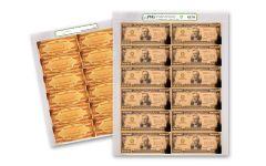 1934 Smithsonian 100,000 Dollar 24K Gold Certificate PMG GEM Uncut Sheet
