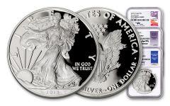 2018-W Silver Eagle NGC PF70UC FR Mercanti/Jones/Moy Signed Label 3-pc Set