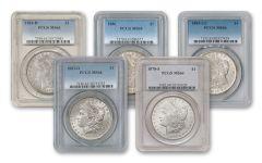 1878-1921 Morgan Silver Dollar PCGS/NGC MS64 5pc Set