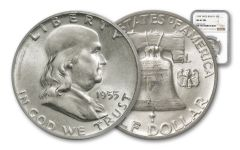 1955 50 Cent Silver Franklin Bugs Bunny NGC MS63 FBL