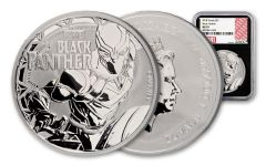 2018 Tuvalu 1 Ounce $1 Silver Black Panther NGC MS70 Black Core
