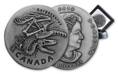2018 Canada 1 Ounce $20 Silver Gorgosaurus Antiqued Gem BU