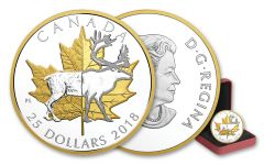 2018 Canada 1 Ounce $25 Silver Timeless Icons Caribou Piedfort Gilded Proof