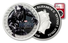 2018 Tuvalu $1 1-oz Silver Black Panther NGC PF70UC First Releases - Red Core