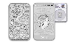 2018 Australia 1 Dollar 1-oz Silver Dragon Bar NGC MS70 First Releases